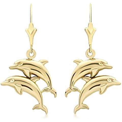 9ct oro giallo doppio delfino orecchini pendenti