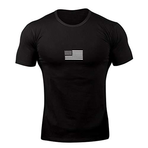 BURFLY Herren Flag Print Stitching Kurzarmhemd Herren Sport T-Shirt Tops T-Shirt Hemd (Inlay-satz)