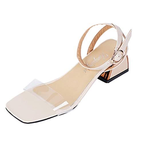 nce Schuhe Hohe AbsäTze Frauen dicken Boden fischmaul Schuhe Keile Sandalen Mode knöchel Schnalle Sandalen Geschlossene Ballerinas(Weiß,42EU) ()