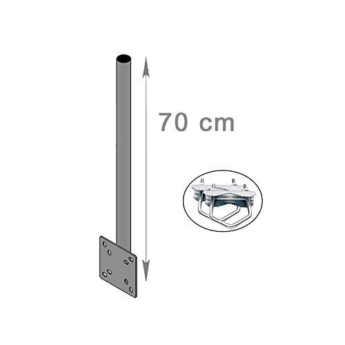 HD-LINE Mast Verlängerung Wand & Balkon Montage mit Schelle (horizontal oder vertikal) Halterung Mastroh Antenne BALKON 70 cm für Spiegel Sat Schüssel