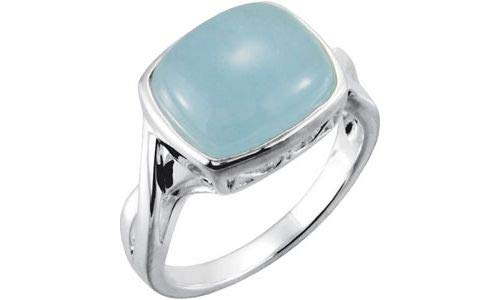Sterling Silber 12 x 10 mm Echte Milky Aquamarin-Ring