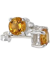 Revoni November Birthstone, Natural Citrine 1 Carat (6mm) Size Brilliant Cut Stud Earrings in Sterling Silver Basket Setting