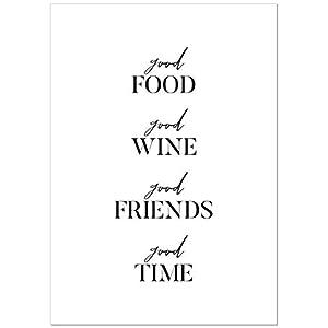 Poster Good Food Good Wine Good Friends Good Time - Spruch Poster für die Küche - Kunstdruck - DIN A5 bis A1