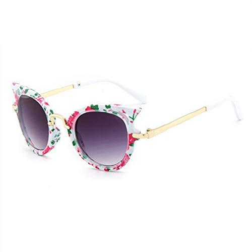 MJDABAOFA Sonnenbrillen Cat Eye Kinder Sonnenbrillen Sonnenbrille Mädchen Jungen Outdoor Sicherheit Blume Brillengestelle Niedliche Kinder Brillen Uv400