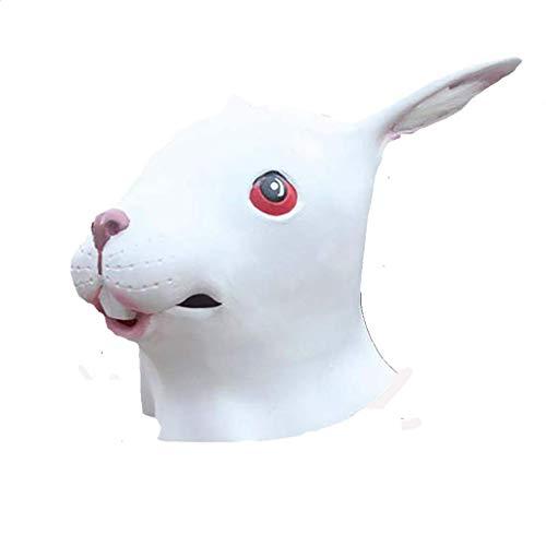 Masken für Erwachsene Maske Hase Kopf Maske lange Ohr Bunny Maske Hase Kopf Mann Kopfbedeckung (Farbe : B)