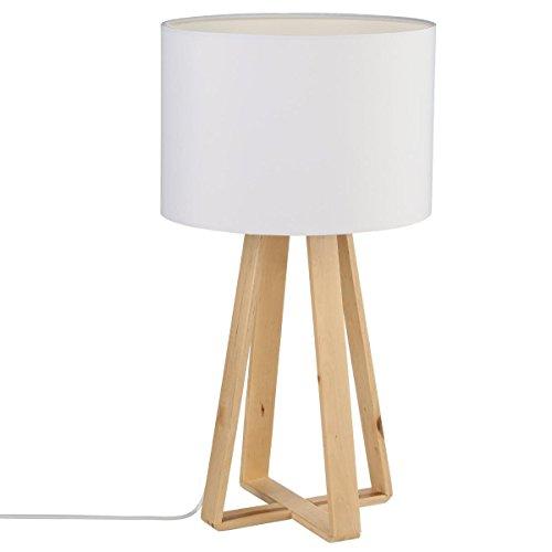 Lampe à poser, pied en bois naturel, abat jour coloris LIN