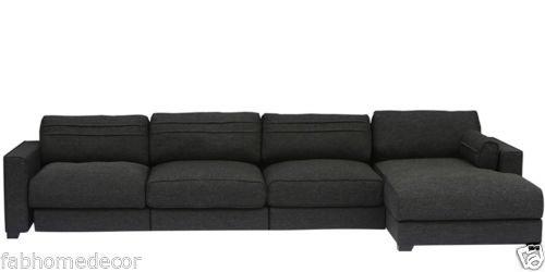 FabHomeDecor Champan FHD635 Four Seater Sofa (Black)