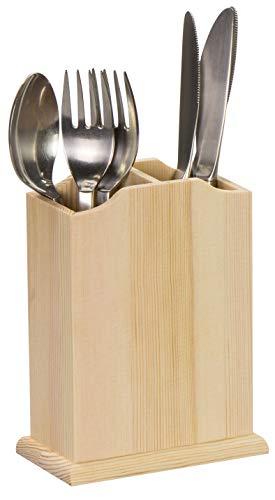 LAUBLUST Besteckhalter aus Holz - ca. 11 x 7 x 15 cm, Natur, FSC® - Besteck-Ständer | Messerblock | 2 Trenn-Fächer