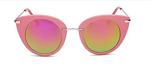 GZD Lunettes de soleil de mode pour dames Trend Glasses Stainless Steel Ultra-Light Reflective Pink