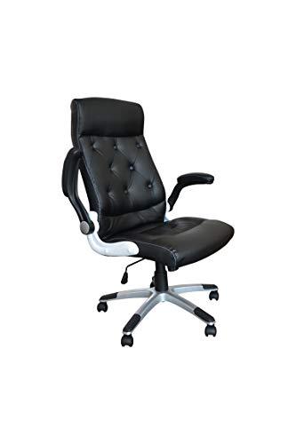 Polironeshop praga sedia poltrona elegante presidenziale per ufficio studio (nero)