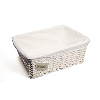 Woodluv New White Wicker Storage Basket With White Cloth Lining (Large) E01-300L