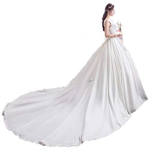 Damen Satin Einfacher U-Ausschnitt Kurzarm Hochzeitskleid bodenlangen Brautkleid abnehmen,White,XL
