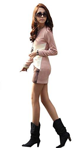 Japan Style von Mississhop Damen Dreifarbige Tunika Shirt Kleid Longshirt Bluse Melange-Weiß-Schwarz