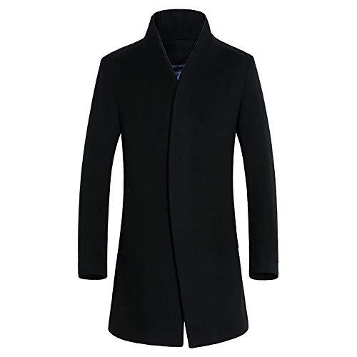 KPILP Herren Warme Winter Trench Revers Woolen Elegante Lange Outwear Zweireiher Windjacke Revers Smart Mantel(B-schwarz, 3XL)
