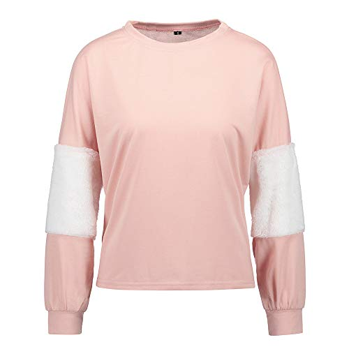 TWBB Damen Mantel,Herbst Winter Spleiß Faux Pelz Samt Slim-Fit Kurz Pullover Sweatshirt Outwear