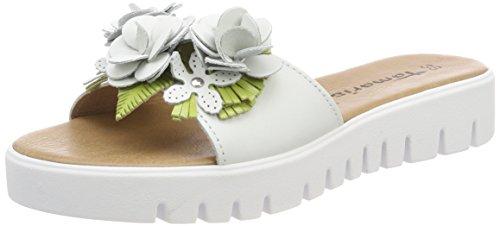 Tamaris Damen 27121 Pantoletten Weiß (White/Green)