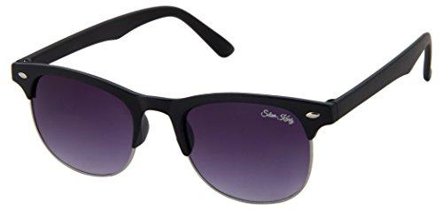 Silver Kartz Classic ClubmasterUV Protected Wayfarer Unisex Sunglasses - (wy227|55|Black)