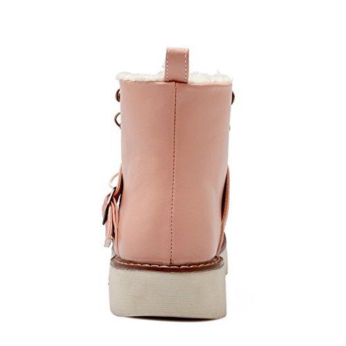 AllhqFashion Damen Schnüren Rund Zehe Niedriger Absatz Niedrig-Spitze Stiefel Pink