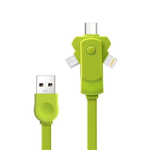 Mehrere Ladekabel 3in1USB Charge Line IOS/Micro/Der U89360° drehbar Schnell Ladekabel für Android iPhone Samsung LG HTC Sony Huawei & andere (Usb-ladegerät-schnur Samsung Tablet)
