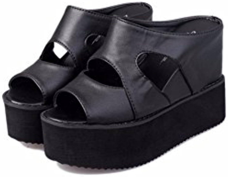 YUCH La Mujer Zapatillas De Tacón Pendiente con Tacón De Plataforma Impermeable Inferior Grueso Hueco Sandalias