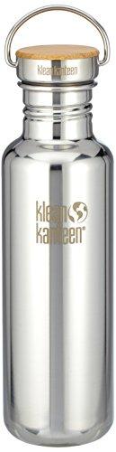 Klean Kanteen Edelstahlflasche mit Unibody Bamboo Cap 800 ml Reflect, Mirrored Stainless, 8020055 (Rucksack Flasche Isolierte)