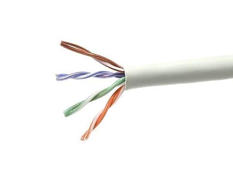 1000FT 24AWG Cat5e 350MHz UTP Solid, Plenum (CMP), Bulk Ethernet Bare Copper Cable - Gray
