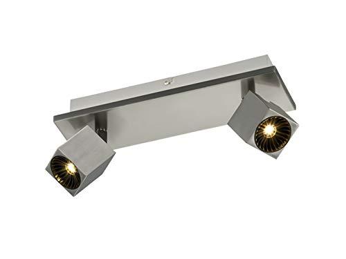 Spot de plafond à 2 ampoules LED avec éclairage indirect en nickel mat et spots LED orientables pour un design individuel.