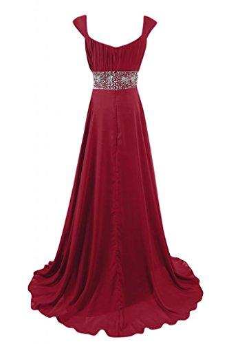 Sunvary deliziosa charmuse a-line regolare Party Dress, abito da sera formale vestito Granata
