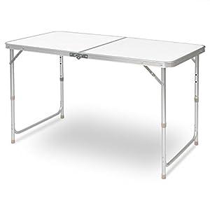 eSituro Campingtisch Reisetisch zusammenklappbar Pickniktisch höhenverstellbar 120x60x55-62-70cm, Tischplatte aus MDF, Weiß