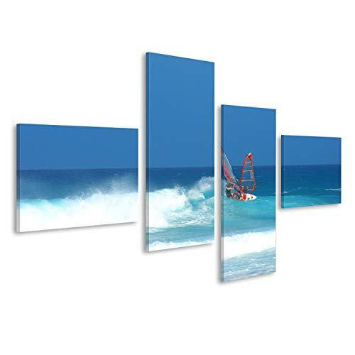 Bild auf Leinwand Windsurfer auf Fuerteventura Kite Surfer Wandbild, Poster, Leinwandbild, Deko, Wanddeko, Wandtattoo