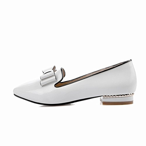 Mee Shoes Damen Lackleder Niedrig mit Schleife chunky heels Pumps Weiß