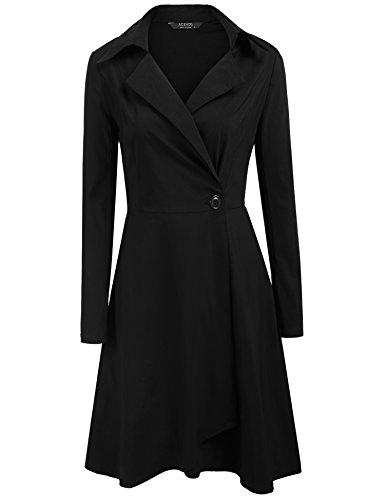 ACEVOG Damen Herbst Vintage Kleid V-Ausschnitt Abendkleid 50er Retro Cocktailkleid Hemdkleid...