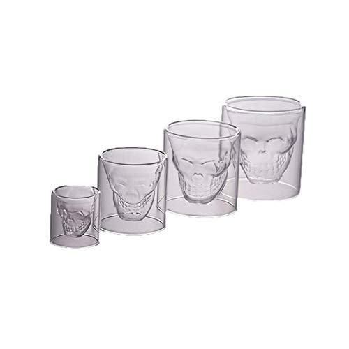 e Totenkopf-Glas-Tassen, Kristall-Kaffeetasse, Whisky, Cocktail-Ware für Zuhause, Bar, Party. ()