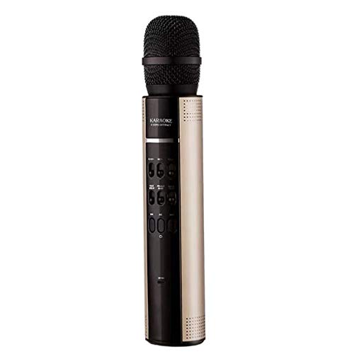 Hunpta@ Drahtloser Bluetooth-Karaoke-Mikrofon-Lautsprecher Handheld KTV Player Voice Changer (Gold)
