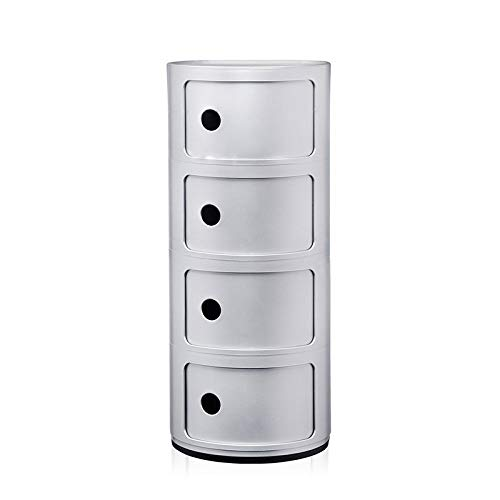 Kartell Componibili Container 4r, Kunststoff, Silber, 32 x 32 x 77 cm