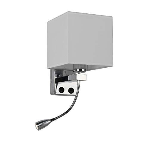 GHL Schlafzimmer Bedside Wandleuchte LED-Licht Tuch Lampenschirm Innen Familie Wandleuchte Mit Schalter und USB-Ladeschnittstelle,2 -