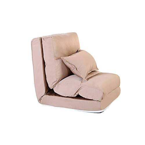 LRSFM Floor Chair Folding Einstellbare Gepolsterte Rückenlehne Leinenstoff Stilvolle Sofa Couch Lounge Chair (Farbe : Khaki)