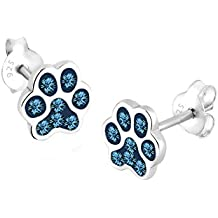 Elli de huellas Juego de pendientes de tuerca con elementos de Swarovski 925 cristales plateado corte princesa azul 0302741313