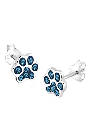 Elli Damen Echtschmuck Ohrringe Katzenpfoten Pfote Hund mit Swarovski Kristallen blau in 925 Sterling Silber -
