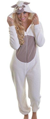 Jungen Mädchen 3D-Mops-Hund Corel Fleece mit Kapuze Strampelanzug, All in One Sleepsuit, Sahne, 15/16 (Strampelanzug Für Große Menschen)
