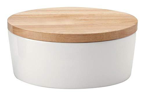 Continenta Pot à pain ovale avec couvercle en bois avec coins, arrière utilisable comme Planche à Découper, boîte à pain avec ventilation, en 3 tailles, Céramique, Anzahl: 2 Stück, 30 x 23 x 13,5 cm