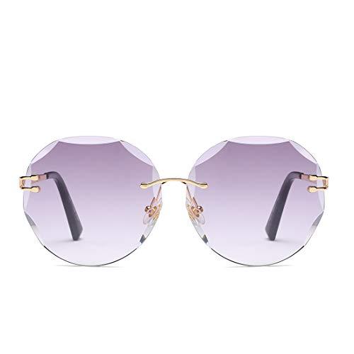 UV400 Mirrored Lens Sunglasses Damen Chameleon Sonnenbrille Brille (Farbe : Gold Frame/Purple Lens)