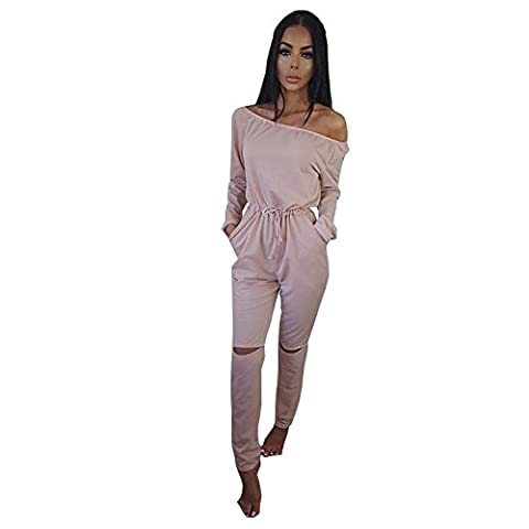 ALAIX Women's off-Shoulder Bodycon Knee Hole Pants Party Club Jumpsuits Rompers-Pink-S