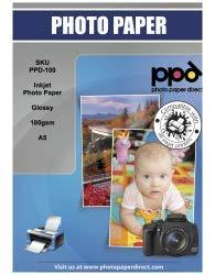 PPD A5 A getto d'inchiostro - lucida carta fotografica 180 g/m², asciugatura immediata, impermeabile - 50 fogli
