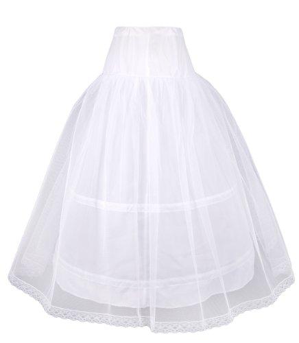 "Flora Mädchen Reifrock Petticoat 2 Ringe / Reifen 1 Schicht Net Petticoat / Kinderunterrock / Rock Brautjungfer, 32 ""L"