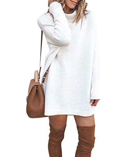Yatrendy Damen Strickkleid Winter Minikleid Rollkragen Kleid Langarm Stretch Pullikleid (Weiß, S)