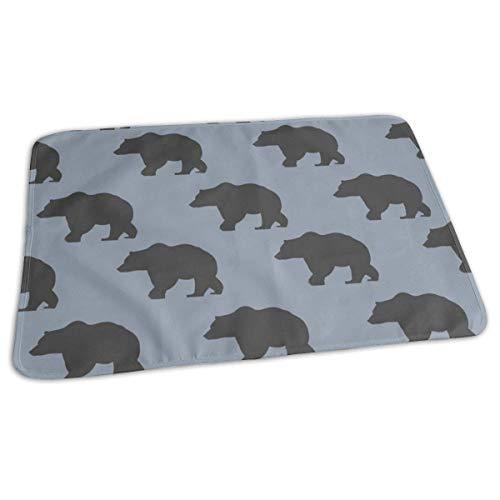 Bikofhd 7 Inch Slate Bear Baby Portable Reusable Changing Pad Mat 19.7X 27.5 inch