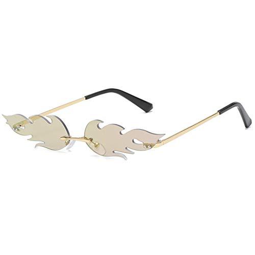 FeiliandaJJ Creative Flamme Form Sonnenbrille Damen Herren Metall Brillenfassungen, Mode Vintage Punk-Stil Sonnenbrille Retro Unisex Sunglasses (C)