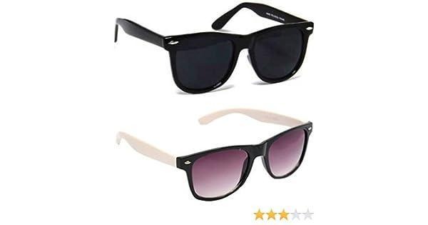 8891f383e25 Sheomy Unisex Sunglasses Combo Pack of White Side Fashion Wayfarer  Sunglasses and Black Matt Finish Wayfarer Sunglasses for Men and Women with  2 boxes  ...