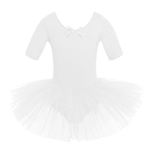 Trägt Kind Ein Kostüm - iEFiEL Mädchen Ballettkleid, Kinder Ballettanzug Tütü Ballett Trikot Turnanzug Kurzarm Ballettkleid mit Röckchen Weiß 122-128
